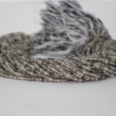 black rutile faceted beads