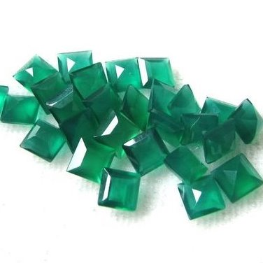 3mm green onyx princess cut