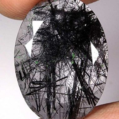 14x10mm Natural Black Rutile Faceted Oval Cut Gemstone