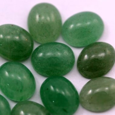 5x7mm Natural Green Aventurine Smooth Oval Cabochon