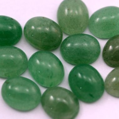 9x7mm Natural Green Aventurine Smooth Oval Cabochon