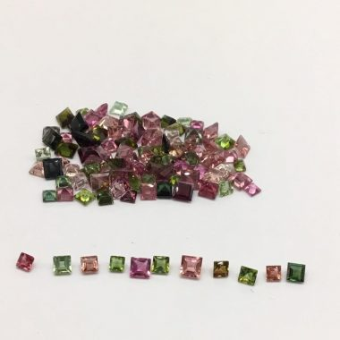 Natural Multi Tourmaline Princess Cut Gemstone