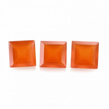 Natural Carnelian Faceted Square Cut Gemstone