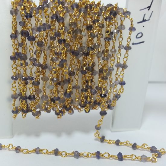 Iolite Beads Gold Plated Rosary Chain
