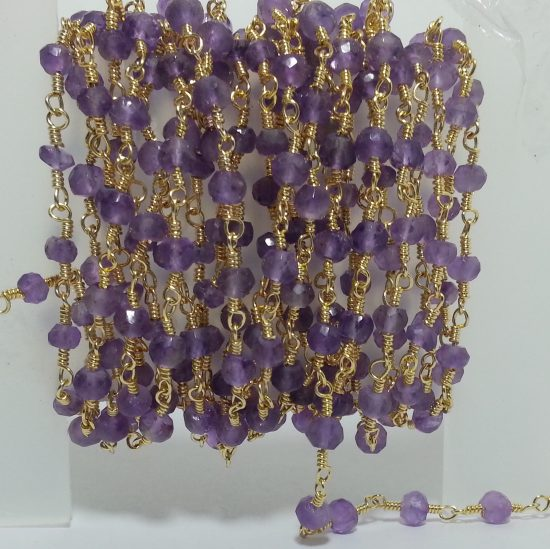 Amethyst Beads Gold Plated Rosary Chain