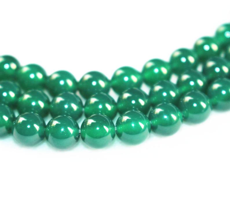 Shop 10mm Natural Green Onyx Smooth Round Beads - FREE SHIPPING
