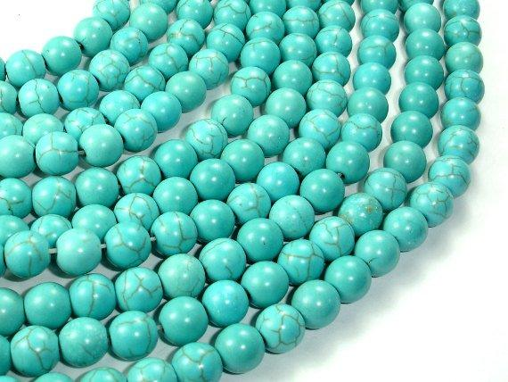 Shop 6mm Natural Howlite Turquoise Smooth Round Beads