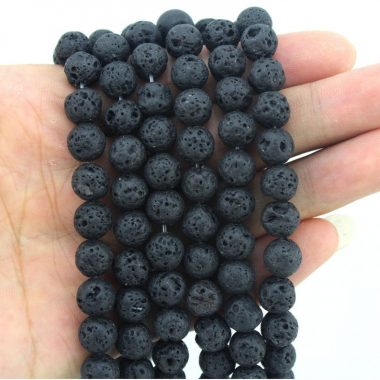 Shop 8mm Natural Lava Smooth Round Beads
