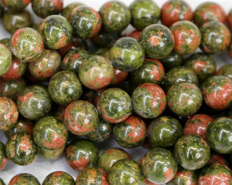 Shop 8mm Natural Unakite Smooth Round Beads - Get FREE SHIPPING