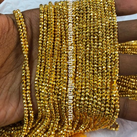 golden pyrite faceted beads