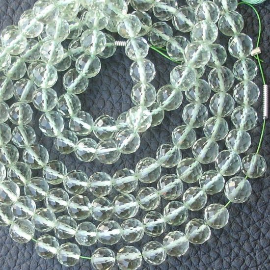 Shop Green Amethyst Faceted Round Beads Strand