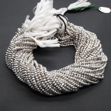 silver pyrite faceted beads