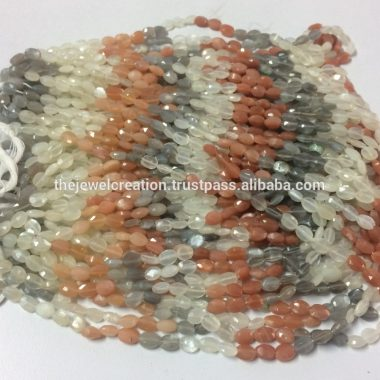 Shop Multi Moonstone Faceted Oval Beads Strand