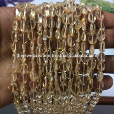 Shop Natural Citrine Smooth Oval Beads Strand