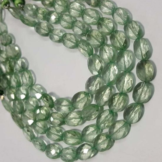 Shop Green Amethyst Faceted Oval Beads Strand