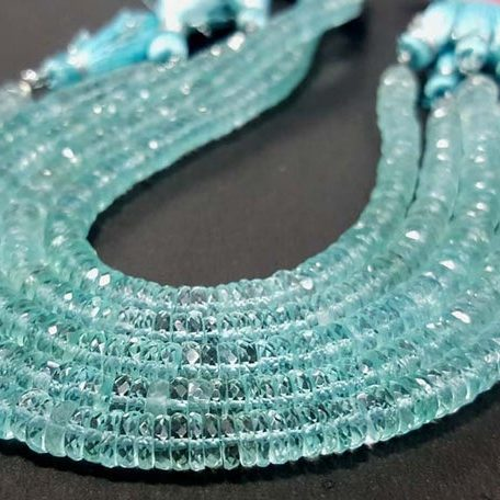 Shop Blue Aquamarine Faceted Heishi Tyre Beads