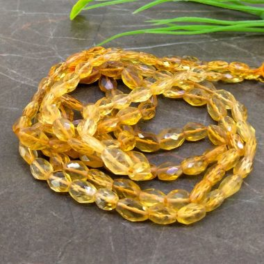 Shop Natural Citrine Faceted Oval Beads Strand