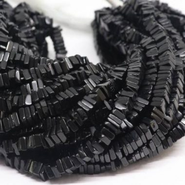 Shop Black Spinel Smooth Square Beads Strand