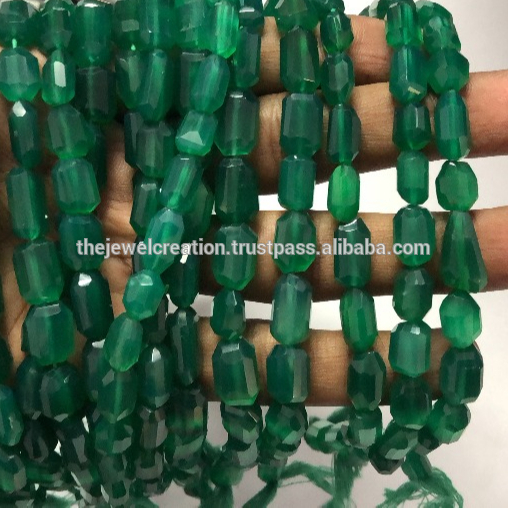 Shop Green Onyx Faceted Tumble Nuggets Beads