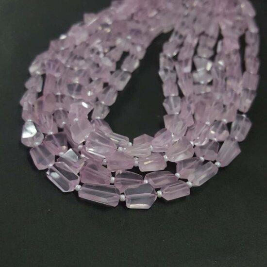 Shop Rose Quartz Faceted Tumble Nuggets Beads