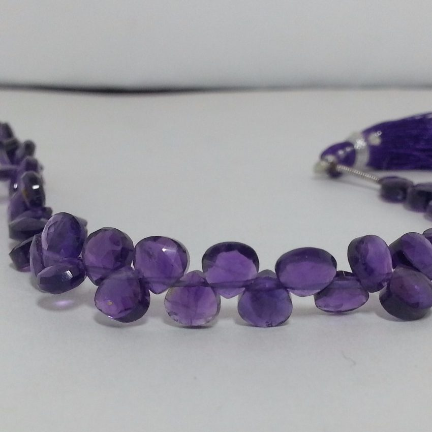 Shop African Amethyst Faceted Heart Beads Strand - FREE SHIPPING