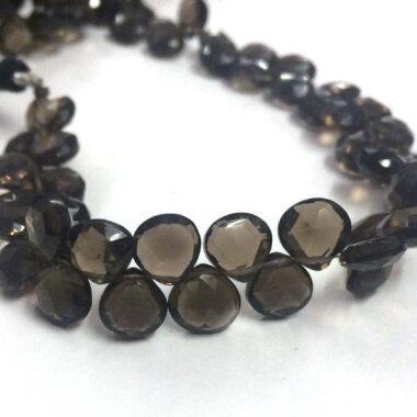 Shop Smoky Quartz Faceted Heart Beads Strand