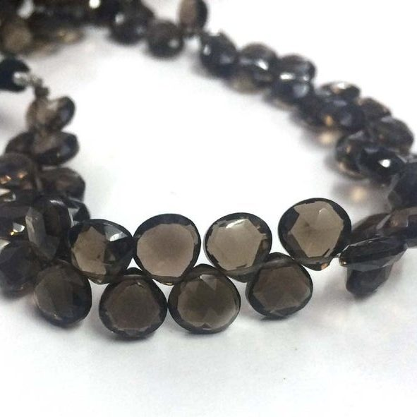 Shop Smoky Quartz Faceted Heart Beads Strand - FREE SHIPPING