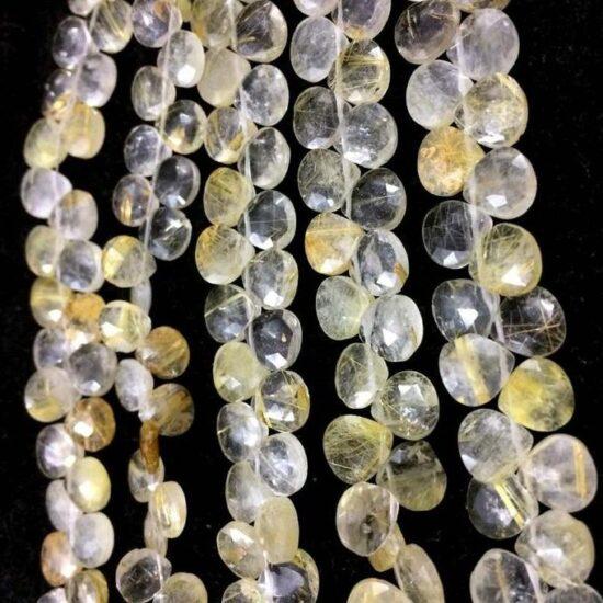 Shop Golden Rutile Faceted Heart Beads Strand
