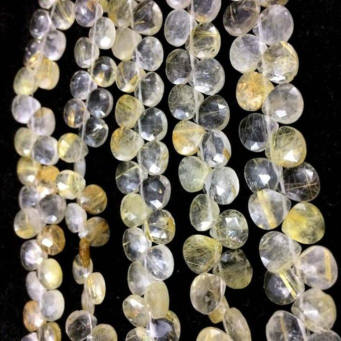 Shop Golden Rutile Faceted Heart Beads Strand - FREE SHIPPING