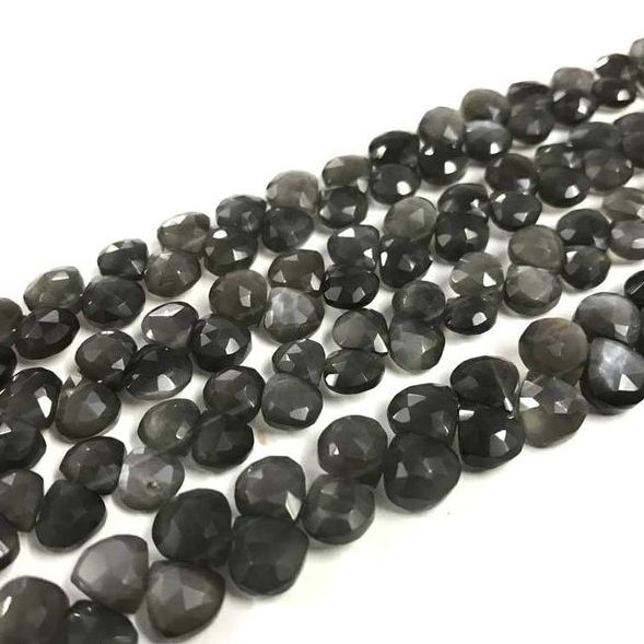 Shop Gray Moonstone Faceted Heart Beads Strand - FREE SHIPPING