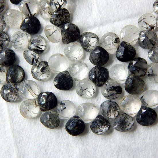 Shop Natural Black Rutile Faceted Heart Beads Strand