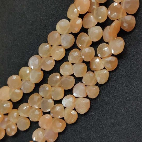 peach moonstone heart beads