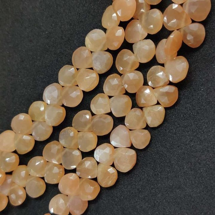 Shop Peach Moonstone Faceted Heart Beads Strand - FREE SHIPPING