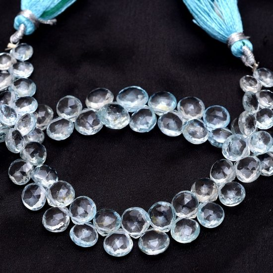 Shop Sky Blue Topaz Faceted Heart Beads Strand