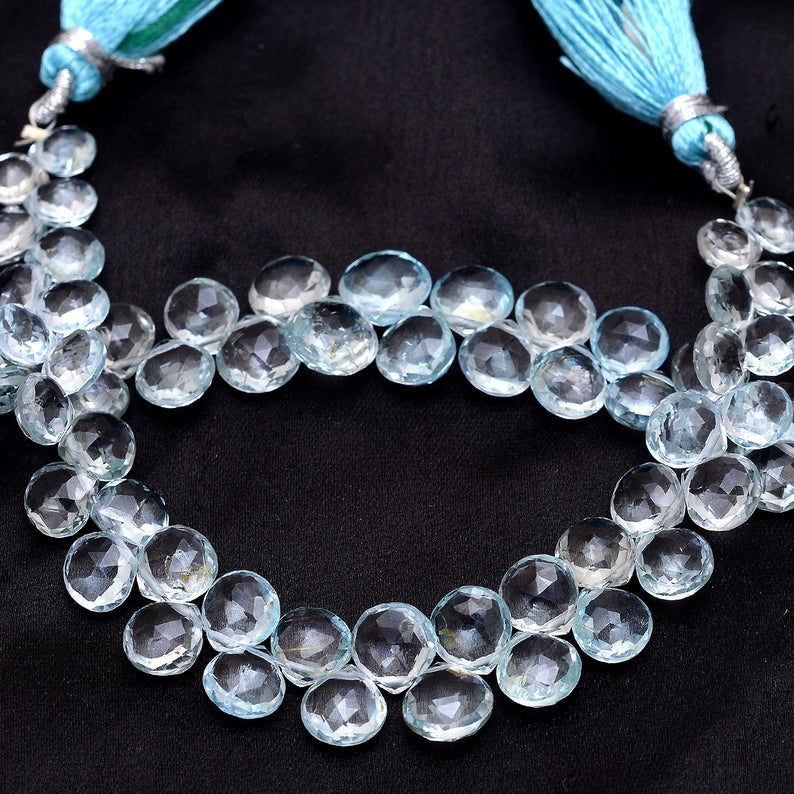 Shop Sky Blue Topaz Faceted Heart Beads Strand - FREE SHIPPING