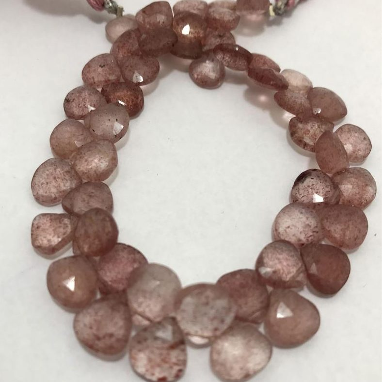 Shop Strawberry Quartz Faceted Heart Beads Strand - FREE SHIPPING