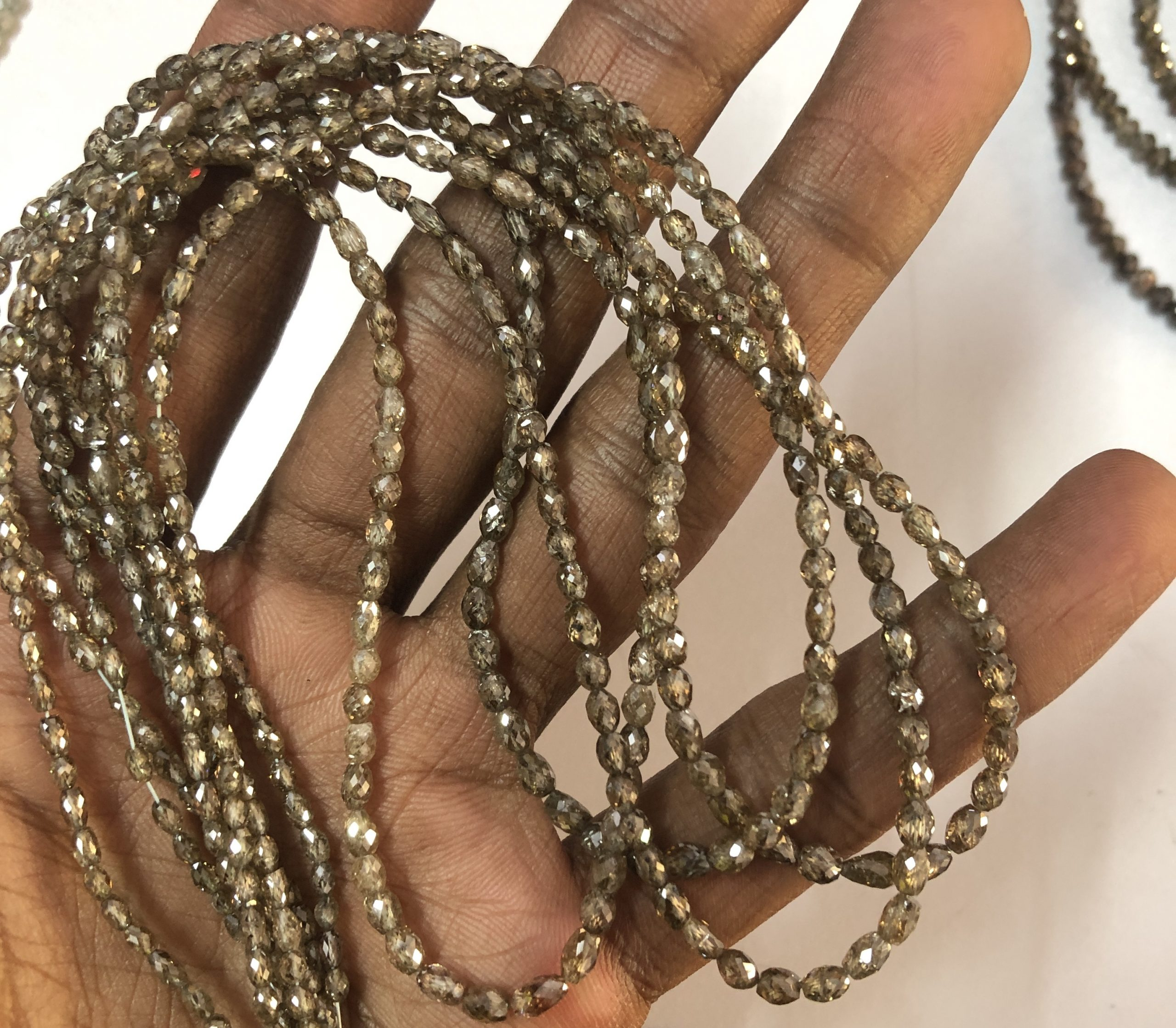 Shop Champagne Diamond Faceted Oval Barrel Beads - FREE SHIPPING