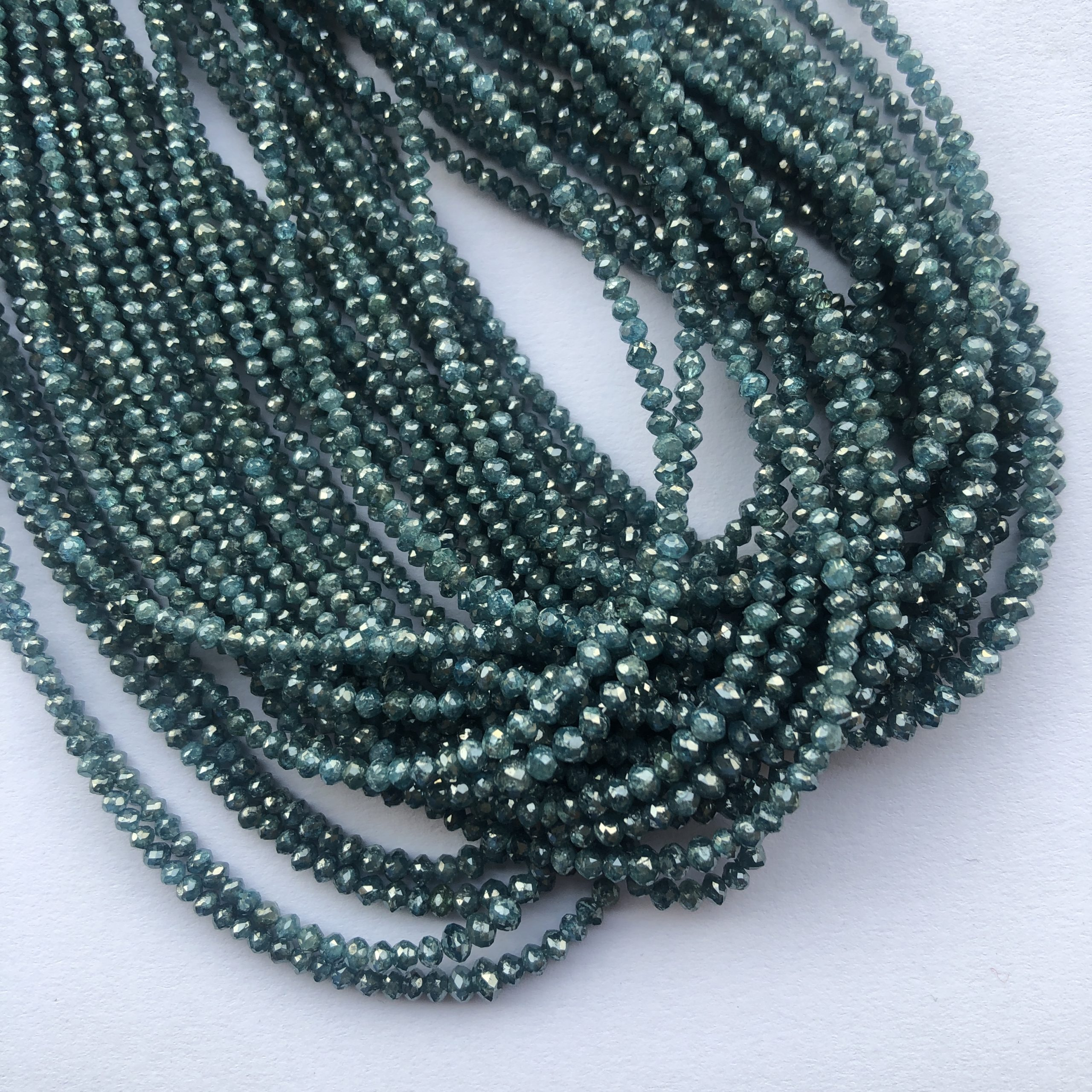 Shop Blue Diamond Faceted Rondelle Beads Strand - FREE SHIPPING