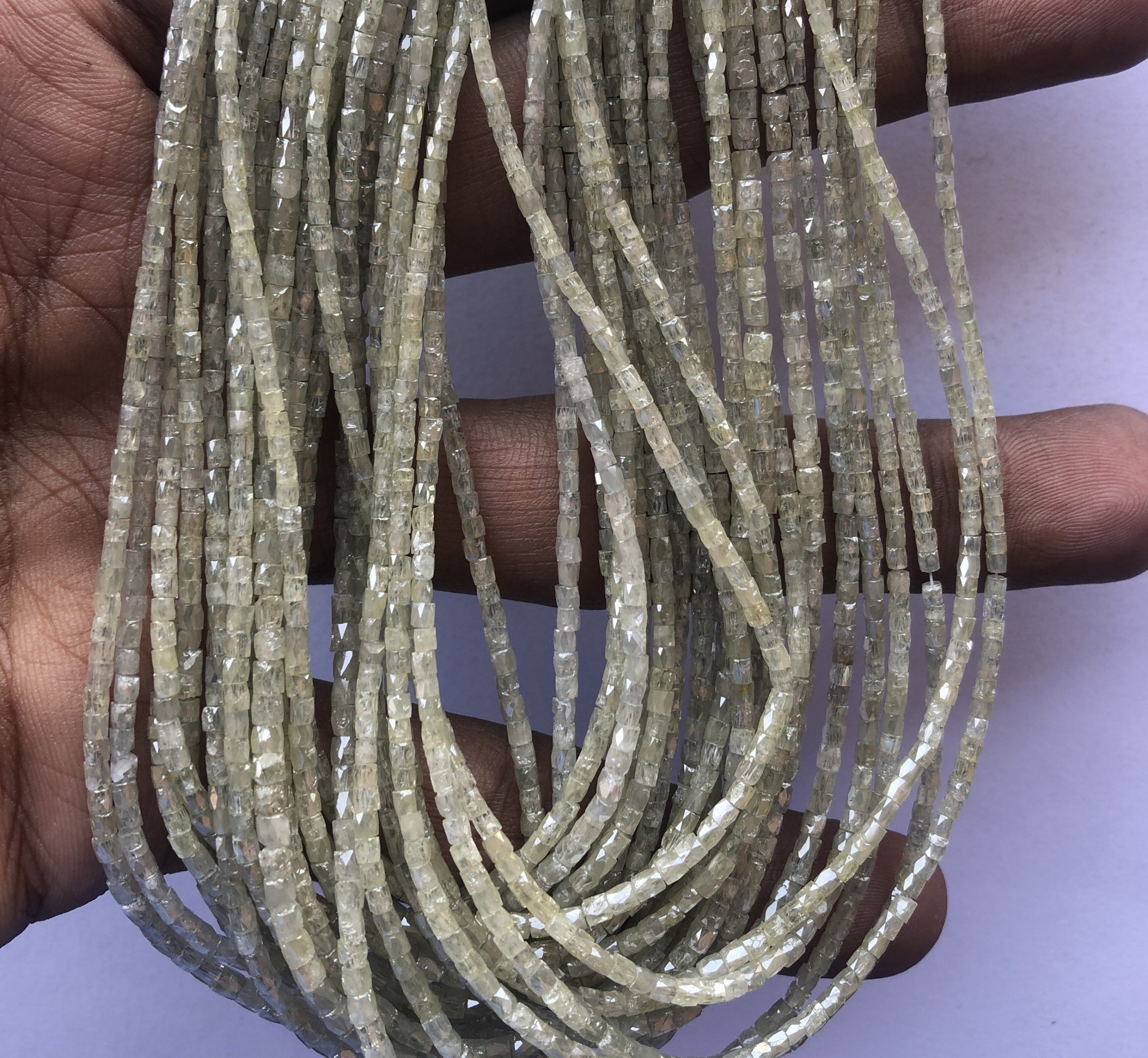 Shop AAA LC Yellow Diamond Faceted Long Pipe Tube Beads Strand