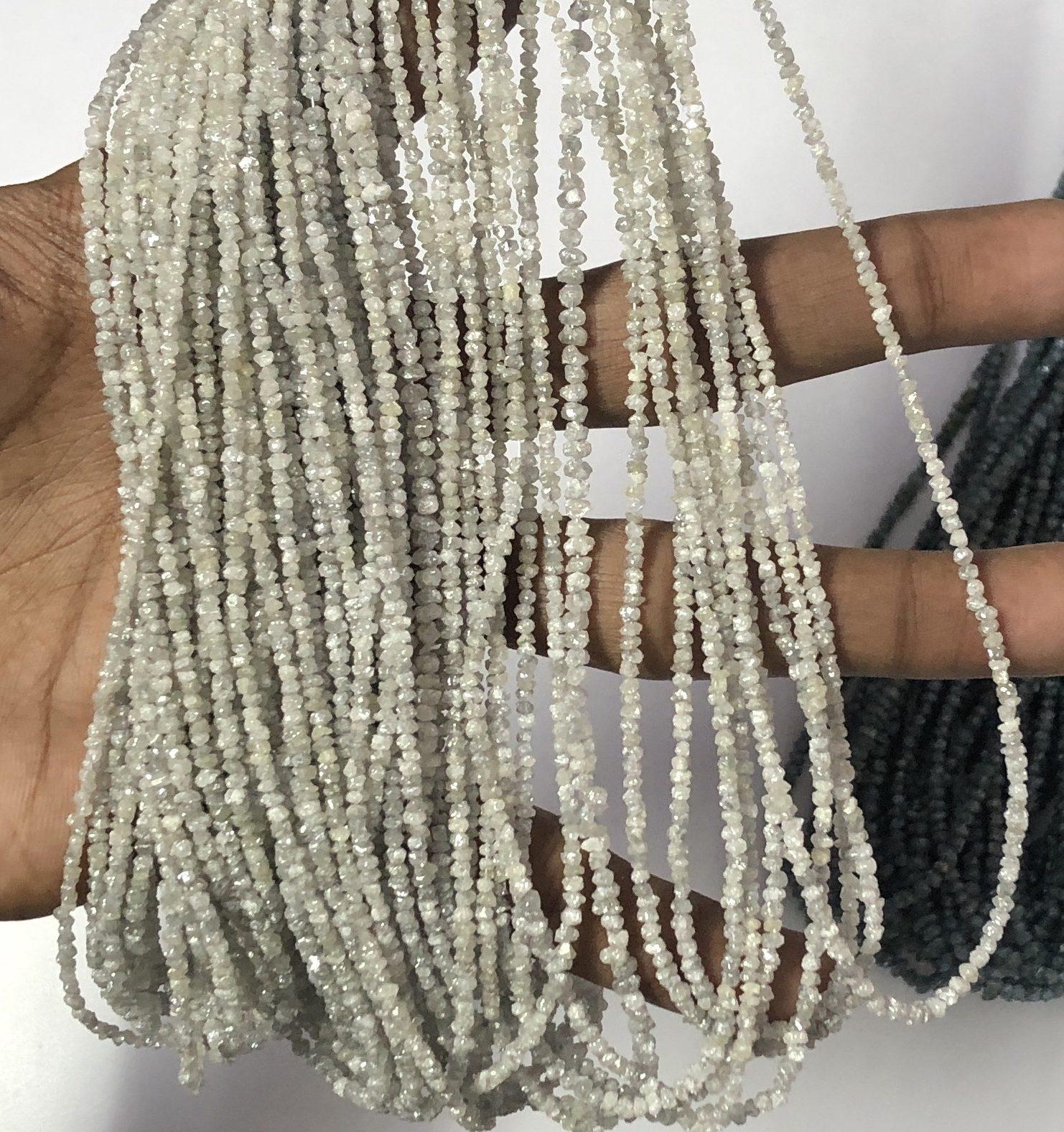 Shop White Diamond Rough Uncut Chips Beads Strand - FREE SHIPPING